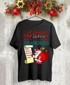 All I want for Christmas is my Grandkids Sophia, Mason, Michael, Hazel, Liam t shirt