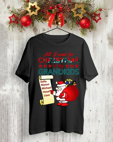 All I want for Christmas is my Grandkids Sophia, Mason, Michael, Hazel, Liam t shirt