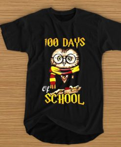 100 Days Owl of school Gryffindor Magic Wizard t shirt