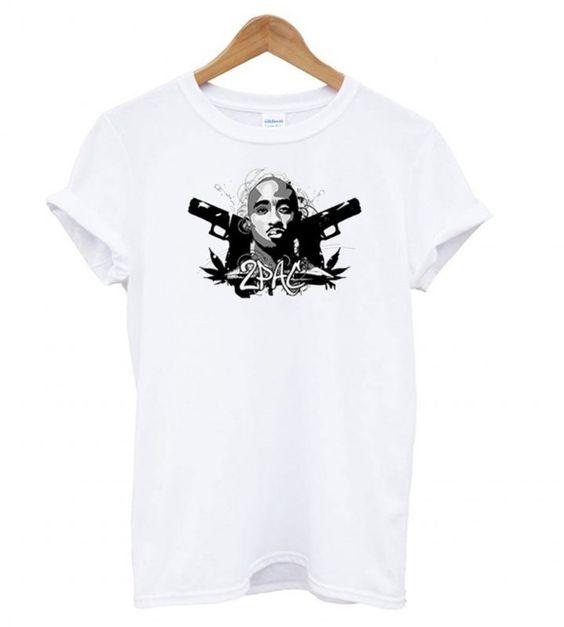 Tupac Shakur Gun t shirt