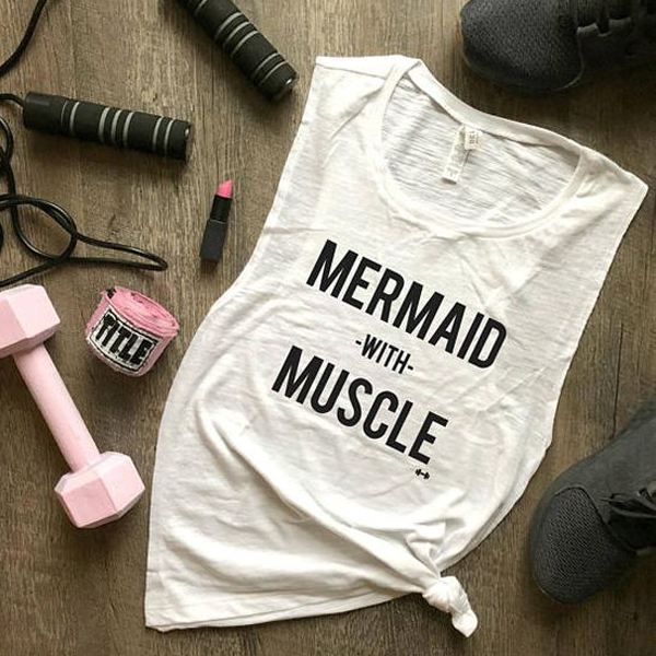 Mermaid with Muscle tank top
