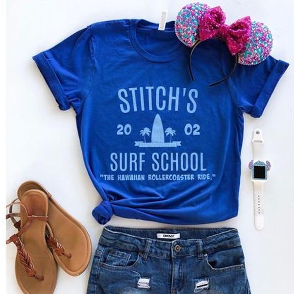 Stitch's Surf School t shirt