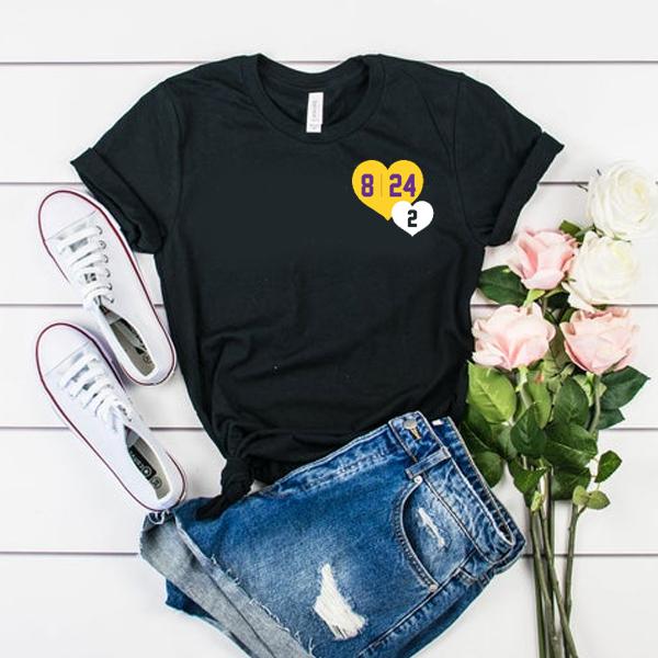 8 24 2 Kobe & Gigi in Hearts t shirt