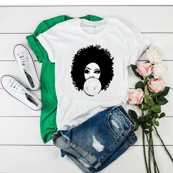 Curlyfro Girl Bubble Gum Natural Hair Black t shirt